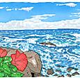 八丈島の荒波