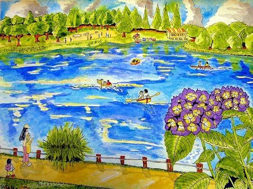 ボートと池
